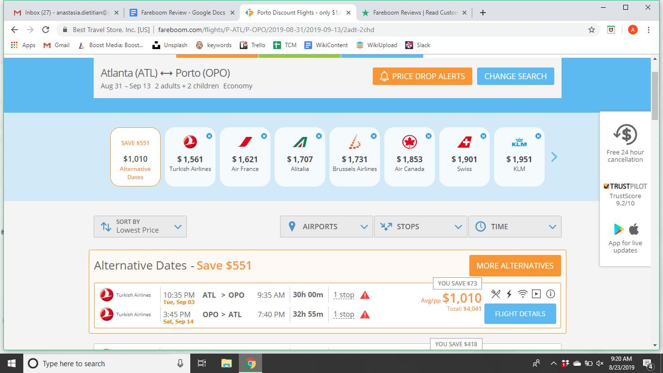 Fareboom Search results for Altanta to Porto